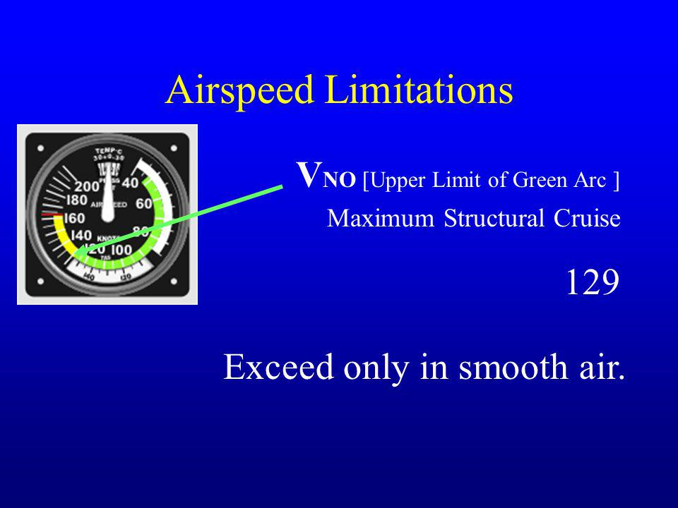 Airspeed Limitations VNO [Upper Limit of Green Arc ] 129